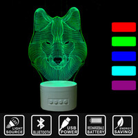 Wholesale animal bluetooth speaker for sale - Group buy 3D LED USB Night Light Bluetooth Speaker color change along with Music Nightlight Asmosphere Lamp Home decor lamp lion