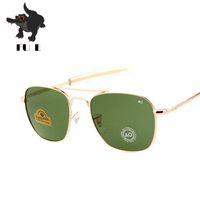 Wholesale American Pilots - FU E New Fashion Army 54mm AO Aviator Sunglasses American Optical Glass Lenses Sunglasses Oku Ross De Sol - Male Mirror