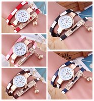 Wholesale eco watches online - Lady Bracelet Diamond Circle Watch Student Fashion wristwatch elegant quartz lady watch Valentine s Day Gift Novelty Items GGA817