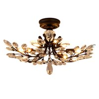 Wholesale Black Iron Crystal Chandelier - American country style led chandelier light fixtures iron crystal ceiling lamp 8 heads black chandelier indoor lighting