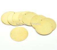 espaços em branco de pingente de latão venda por atacado-30 Pcs Frete grátis Hot New DIY Latão Metal Stamping Blanks Tag Rodada Pingentes Encantos Jóias Fazer Componente 28mm (1-1 / 8