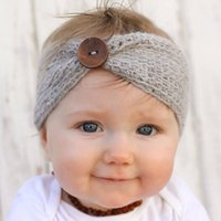 Wholesale hair mix color girls for sale - New Handmade Baby Knitting Crochet Headband Fashion Boys Girls Headbands Ear Warmer With Button Children Hair Accessories