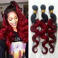 Wholesale black red ombre hair weave resale online - Ombre Two tone B Red black and burgundy human hair Brazilian Peruvian body wave hair bundles Hair Weaving