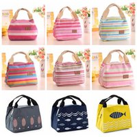 Wholesale lunch bags online - 10 Colors Women Lunch Bag Insulated Picnic Bag Streaky Thick Thermal Canvas Bags Large Capacity Bottle Food Storage handbag GGA702