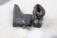 botas de mujer negra al por mayor-2018 TOP calidad mujer Australia Classic kneel Boots botines negro gris castaño marino mujeres mujeres de la cinta y pelo stra botas US 5--10