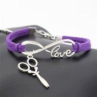 ciseaux d'amour achat en gros de-Nouveau mode Infinity Love ciseaux pendentif cire corde violet cuir chanvre tressé Bracelet charme simple bracelets multicouche ethnique vent bijoux
