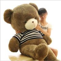 teddy-puppe große größe großhandel-120cm 140cm 160cm Big Size Sweater Hug The Bear Plüschtier Teddybär Puppe Valentinstag Geschenke