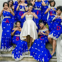 Wholesale winter wear caps online - Royal Blue Mermaid Bridesmaid Dresses Long Lace Appliques African Women Formal Wear Party Dress Fashion Plus Size Maid Of Honor Gowns