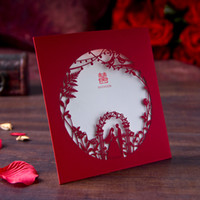 50PCS lot Free shipping Laser Cut Romatic Bridegroom &Bride Wedding Business anniversary Party paper Invitation Card with Inner Blank Paper