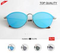 Wholesale Round Sunglasses Trend - New Fashion Trend 3574 BLAZE ROUND Style Sunglasses Vintage Retro Brand Design Color Mirror Sun Glasses Women Oculos De Sol flash gafas