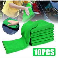 ingrosso asciugamano verde-Vendite calde Commerci all'ingrosso 10pcs auto microfibra auto pulizia auto dettaglio panni morbidi lavare asciugamano spolverino