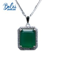 Wholesale natural gemstone 12mm resale online - Bolaijewelry natural green agate oct mm gemstone pendant fine jewelry for women as birthday anniversary party best gift