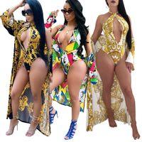 Wholesale girls swimwear long - 2 PCS Summer Beach seaside Women's Set fashion sexy Girl swimwear + long sleeve beach cape nightclub party tracksuit