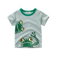 frosch baby kleidung großhandel-Kinder Baby Jungen Mädchen T-shirt Kurzarm Tops Frosch Druck Beiläufiges T-shirt Weiche Baumwolle Kinder Kleidung Sommer T Tops