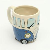 Wholesale paintings bottles resale online - Handgrip Cute Originality Ceramic Cups Hand Painting Retro Double Decker Bus Mug Coffee Milk Tea Cup Water Bottle Drinkware Gift