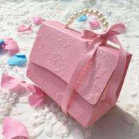 douche nuptiale rose bleu achat en gros de-Papier boîtes de faveur de mariage ruban rose bleu rouge douche nuptiale paquet de fête d'anniversaire 50pcs beaucoup livraison gratuite en gros