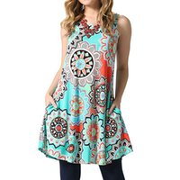 Wholesale black dress for sale - Group buy Stylish Women Dress New Floral Printed Women Summer Sleeveless Dress Sexy Crew Neck Dress Color S XL