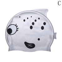 Wholesale Silicone Swim Caps Wholesale - 2018 Cute Cartoon Fish Durable Silicone Swimming Cap Swim Hat for Children Kids Outdoor