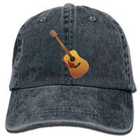 guitarra de moda al por mayor-Logotipo de guitarra Gorro de vaquero para adultos Gorra de béisbol Atlético ajustable Hacer un sombrero de moda personalizado para hombres y mujeres