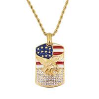 bandera de acero inoxidable al por mayor-Collar de acero inoxidable joyería hip hop Eagle EE. UU. Bandera colgante con cadena de cuerda de 24 pulgadas SN145