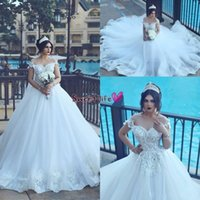 Wholesale one shoulder wedding dresses sweetheart ruffled for sale - Group buy 2019 New Arabic Vestios De Novia Off Shoulders Sweetheart Ball Gown Wedding Dresses Backless Lace Appliques Beaded Elegant Bridal Gowns