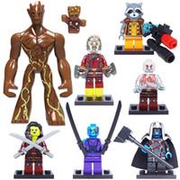 brinquedo do foguete venda por atacado-Guardiões da Galáxia Blocos de Construção de Brinquedos Figura Groot Bebê Star-Lord Foguete Guaxinim Nebulosa Ayesha Gamora Yondu