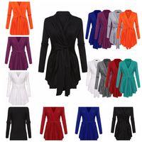 черные белые рубашки оптовых-Европейская мода сплошной цвет V-образным вырезом с длинными рукавами кардиган Футболка белый, красный, черный, фиолетовый, серый, синий поддержка смешанной партии