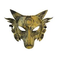 máscara de lobo animal venda por atacado-Lobo Animal Mask Festival Festa de Halloween Traje Cosplay Lobos Bola Bar Decoração Adulto Máscaras de Prata de Ouro