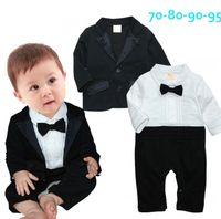 Wholesale kid s down coats - Baby boys gentleman clothes outfits autumn Infant Tie romper+coat 2pcs set kids Clothing Sets toddler clothes
