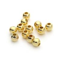 zweifarbiges material großhandel-100 teile / los 3/4 / 6mm Gold / Silber Runde Kupfer Spacer Perlen Glatte Kugel Rocailles für Halskette Armband Schmuck Machen F3173