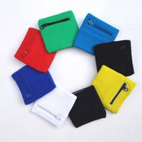 Wholesale cotton wristbands sweatband - Cotton Wristband Zipper Pocket Outdoor Wrist Guard Sweatband Arm Band Support Wraps Sport Strap Protect Mix Colour GGA295 150PCS