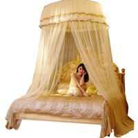 Wholesale girls single bedding for sale - Double Lace Hung Done Mosquito Net Round Bed Canopy Netting For Adults Girls Room Decor Bed Tent Mesh Curtain Bulk moustiquaire
