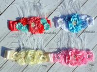 fashones de fantasía al por mayor-4 Colores Fancy Dusky Satin Flower Sash Belt con perlas Rhinestones de plumas para niñas boda nupcial Sash accesorios KIDOCHEESE