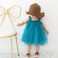 Wholesale Cute Simple Dresses - new dress 2018 INS hot styles New summer girl kids cute simple style Sling gauze skirt kids elegant solid color Agaric lace gauze skirt