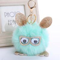 Wholesale ball hair accessories - New decor accessories owl pendant imitation fox fur ball key holder owl hair ball pendant free shippinh