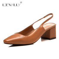brown wedge pumps NZ - wholesale Fashion Women Party Shoes Buckle Pumps Shoes Ladies Elegant Brown Black Square Toe Thick Heel Plus Size 33-41 2018 S214