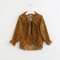 Wholesale Childrens Blouses - Vieeolove Baby Girls Shrits 2018 New Spring Childrens Long Sleeve for Kids Clothing Pentagram sailing Bow Floral Chiffon Shirt VL-095