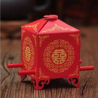 silla de papel de boda cajas de dulces al por mayor-Envío libre creativo novia sedán silla caja de dulces caja de regalo de papel chino cajas del favor de la boda wen5865