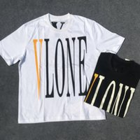 Wholesale Contrast Pictures - 2018 Vlone Beijing Limit Logo Printed Women Men T shirts Hip hop Loose Cotton Casual Men T shirt Tops tee Real picture 3 style