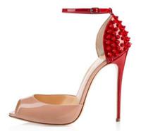 sandálias de festa bege venda por atacado-Red Bottom Mulheres Handmade Moda Peina Spikes 120 MM Peep Toe com Tira No Tornozelo Sandálias de Festa de Salto Alto Bege