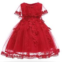 крещение для девочки оптовых-Новорожденных девочек платье Жемчужина младенческой партии платья старинные новорожденных Крещение Пром платье крестины платья для девочек платье 1 год рождения