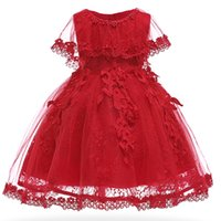 vestidos infantiles vintage al por mayor-Baby Girls Dress Pearl Vestidos de fiesta infantiles Vintage Newborn Baptism Prom Gown Bautizo Vestidos para niña vestido 1 año de cumpleaños