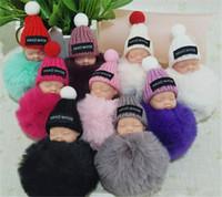 Wholesale sleeping bag cute resale online - Cute Sleeping Baby Doll Keychain Pompom Rabbit Fur Ball Key Chain Car Keyring Women Key Holder Bag Pendant Charm Accessories