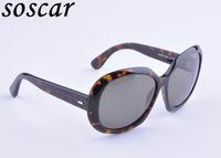 Wholesale Nylon Sunglasses - Soscar Brand Designer Sunglasses for Women JACKIE OHH 4098 Nylon Square Frame Glass Lens 100% UV Protection Top Quality with Case Box