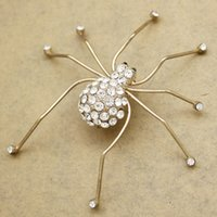 ingrosso ragni di spilla dei monili-Art Nouveau Oro Big Spider Insetto Crystal Hat Tie Risvolto Sciarpa Pin Badge Spille Collettive Donne PARTY Gioielli Anime