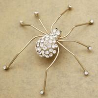 aranhas brooch jóias venda por atacado-Art Nouveau Ouro Grande Aranha Inseto De Cristal Hat Tie Lapela Cachecol Pin Emblema Collective Broches Mulheres PARTY Anime Jóias