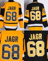 jersey china fábrica venda por atacado-Tomada de fábrica, Jaromir Jagr Jersey # 68 Preto Amarelo CCM Vintage Reminiscência Hóquei No Gelo Jerseys China