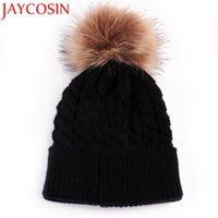 Wholesale Drop Hem - Skullies Beanies Newborn Cute Winter Kids Baby Hats Knitted Pom Pom Hat Wool Hemming Hat Drop Shipping High Quality S30