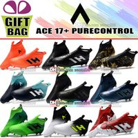 Wholesale cheap leather ankle boots - Original High Ankle Football Boots Leather ACE 17 Purecontrol FG Laceless Soccer Shoes Outdoor ACE 17 Pure Control Socks Soccer Cleats Cheap