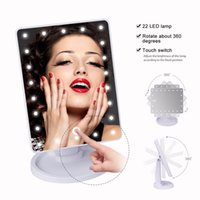 Wholesale touch screen plate - Make Up LED Mirror 360 Degree Rotation Touch Screen Make Up Cosmetic Folding Portable Compact Pocket With 22 LED Light Makeup Mirror OTH779